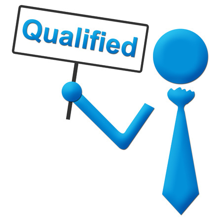qualified: Qualified Human Holding Signboard Stock Photo