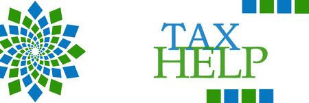 chartered accountant: Tax Help Green Blue Squares Horizontal