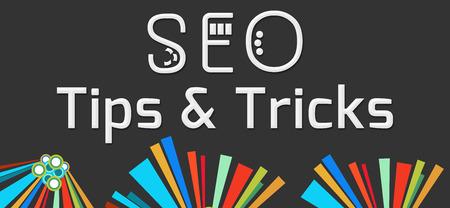 SEO Tips And Tricks Dark Colorful Elements Standard-Bild