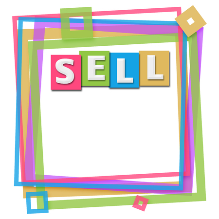sell: Sell Text Colorful Frame