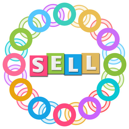 sell: Sell Text Colorful Rings Circular
