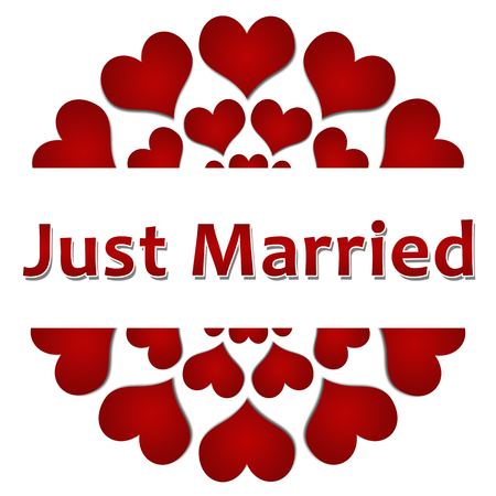 matrimony: Just Married Red Hearts Circular Square