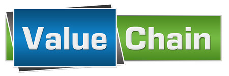 selling service: Value Chain Green Blue Horizontal Stock Photo
