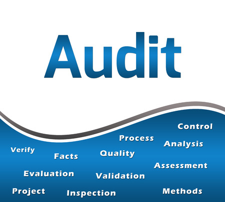 keywords: Audit Blue With Keywords Square Stock Photo