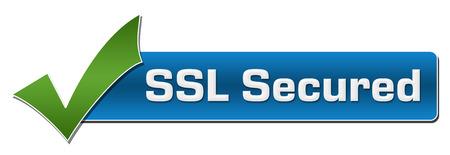 SSL Secured grüne Häkchen Horizontal Standard-Bild - 56862611