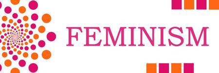 feminism: Feminism Pink Orange Dots Horizontal Stock Photo