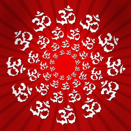 aum: Aum Red Burst Circular