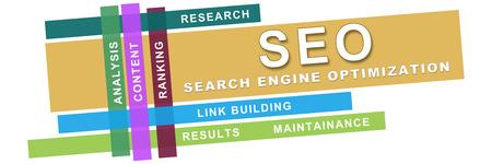Seo Wordcloud bunte Streifen