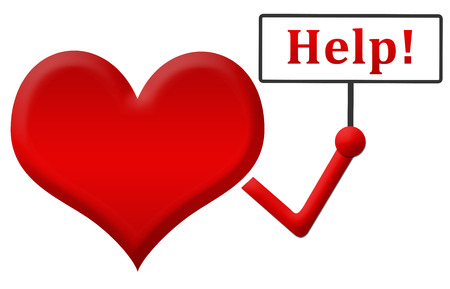 signboard: Help Heart Holding Signboard Stock Photo