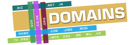 e systems: Domains Wordcloud Colorful Stripes Stock Photo