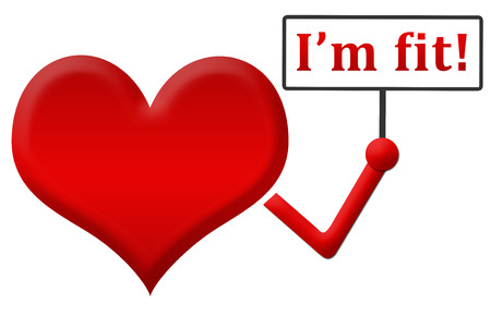 fit: I Am Fit Heart Holding Signboard Stock Photo