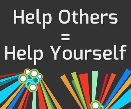 helping others: Help Others Help Yourself Dark Colorful Elements Stock Photo