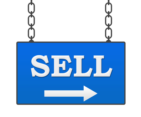 sell: Sell Blue Signboard Stock Photo