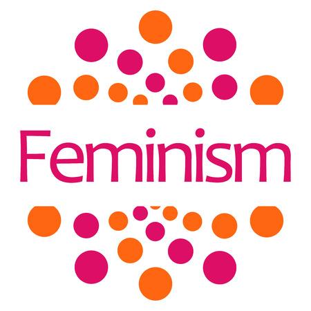 conflictos sociales: El feminismo puntos cuadrados Rosa Naranja aislada Foto de archivo