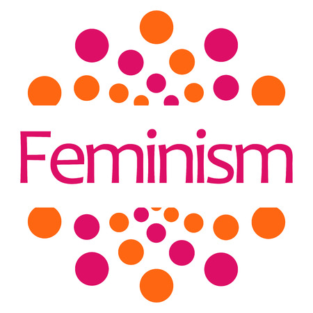 sexes: Feminism Pink Orange Dots Square Isolated Stock Photo