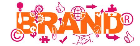 construction companies: Brand Text With Symbols Pink Orange