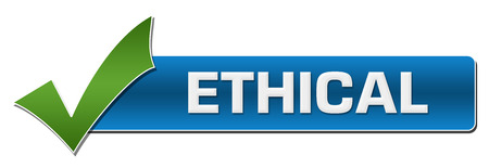 ethical: Ethical Blue With Green Tickmark Stock Photo