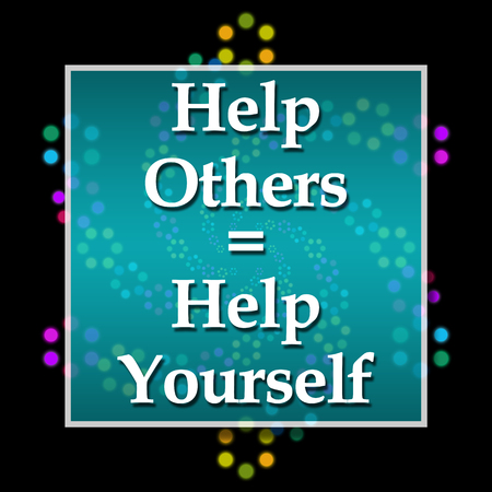 selfish: Help Others Help Yourself Dark Colorful Neon Stock Photo