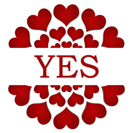 affirmative: Yes Red Hearts Circular