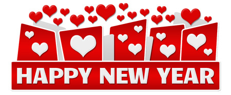 top of the year: Happy New Year Red Hearts On Top