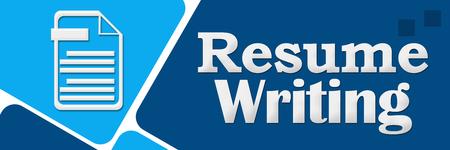 Resume Writing Blue Rounded Squares Stock Photo