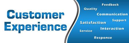 Customer Experience Wordcloud Blue Horizontal Standard-Bild
