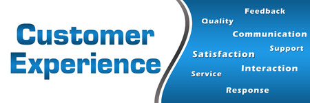 interactions: Customer Experience Wordcloud Blue Horizontal Stock Photo