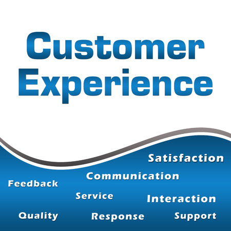 interactions: Customer Experience Wordcloud Blue Square Stock Photo