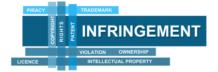 infringement: Infringement Blue Stripes With Wordcloud Stock Photo