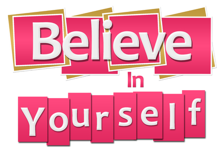 believe: Believe In Yourself Pink Squares Stripes