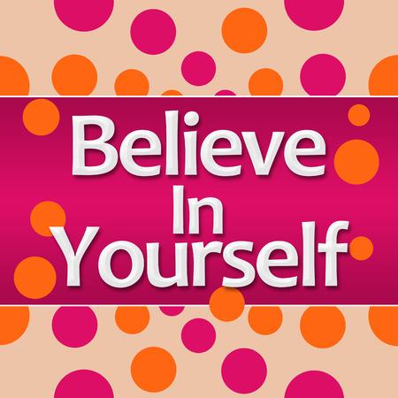 Croyez en vous-même Dots Orange Rose Carré