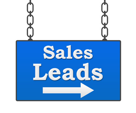 leads: Sales Leads Hanging Signboard Stock Photo
