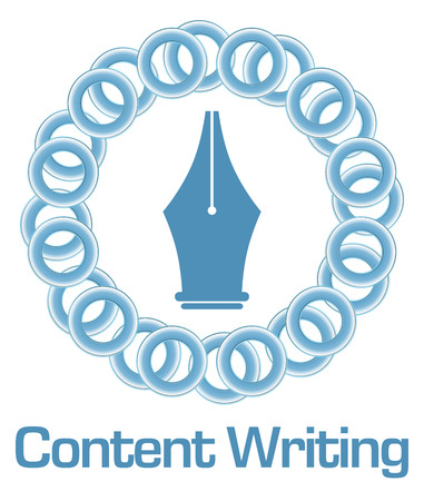 content writing: Content Writing Blue Rings Circular Stock Photo