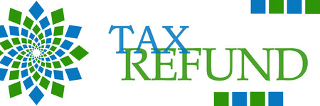 tax refund: Tax Refund Green Blue Squares Horizontal