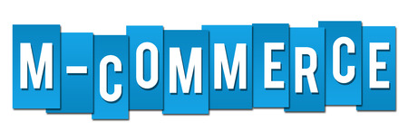 commerce: Mobile Commerce Blue Stripes Stock Photo