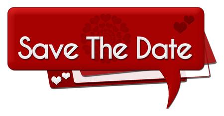 romantic date: Save The Date Romantic Comment Symbol Stock Photo