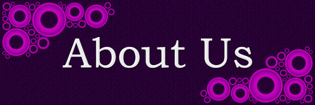 about us: About Us Purple Pink Rings Horizontal Stock Photo