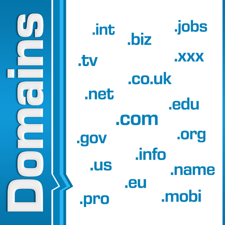 domains: Domains Wordcloud Side Text Blue Stock Photo