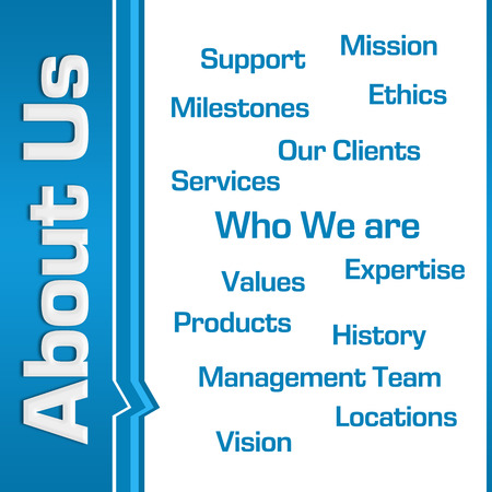 about us: About Us Wordcloud Side Text Blue