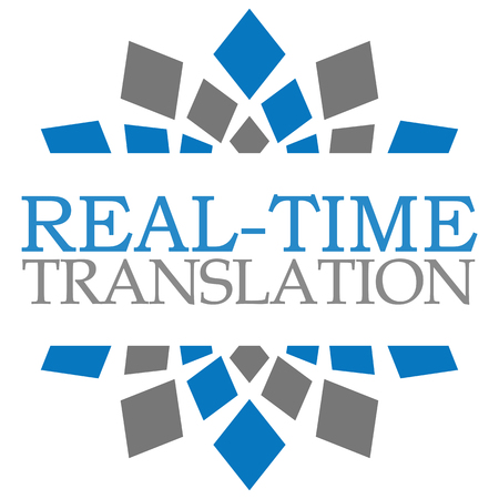 realtime: Real-Time Translation Blue Grey Square Elements Stock Photo
