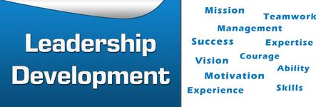 wordcloud: Leadership Development Wordcloud Blue Horizontal Stock Photo