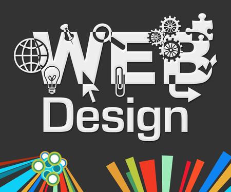web developer: Web Design Dark Colorful Elements
