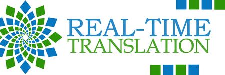 realtime: Real-Time Translation Green Blue Horizontal Stock Photo