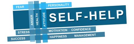 personality development: Self Help Wordcloud Blue Stripes