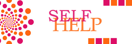 self realization: Self Help Pink Orange Dots Horizontal Stock Photo