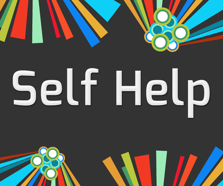self realization: Self Help Dark Colorful Elements Stock Photo