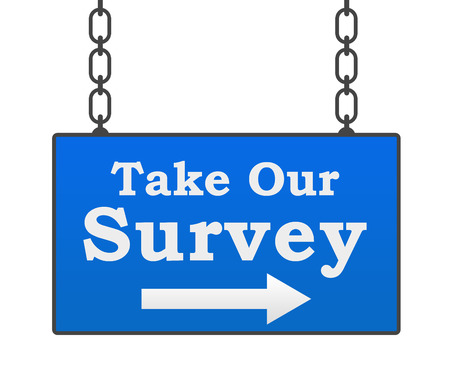 valuation: Take Our Survey Blue Signboard Stock Photo