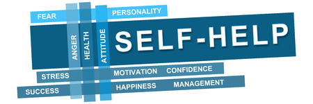 self realization: Self Help Wordcloud Blue Stripes
