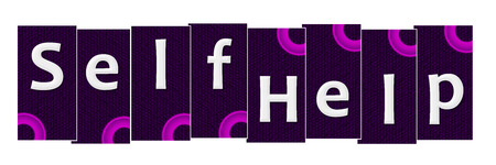 self help: Self Help Purple Pink Rings Horizontal Stock Photo