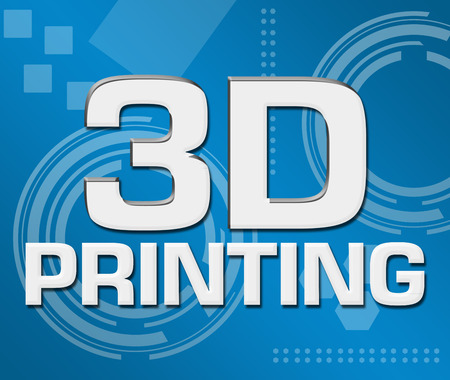 3D Printing Abstract Blue Background Square